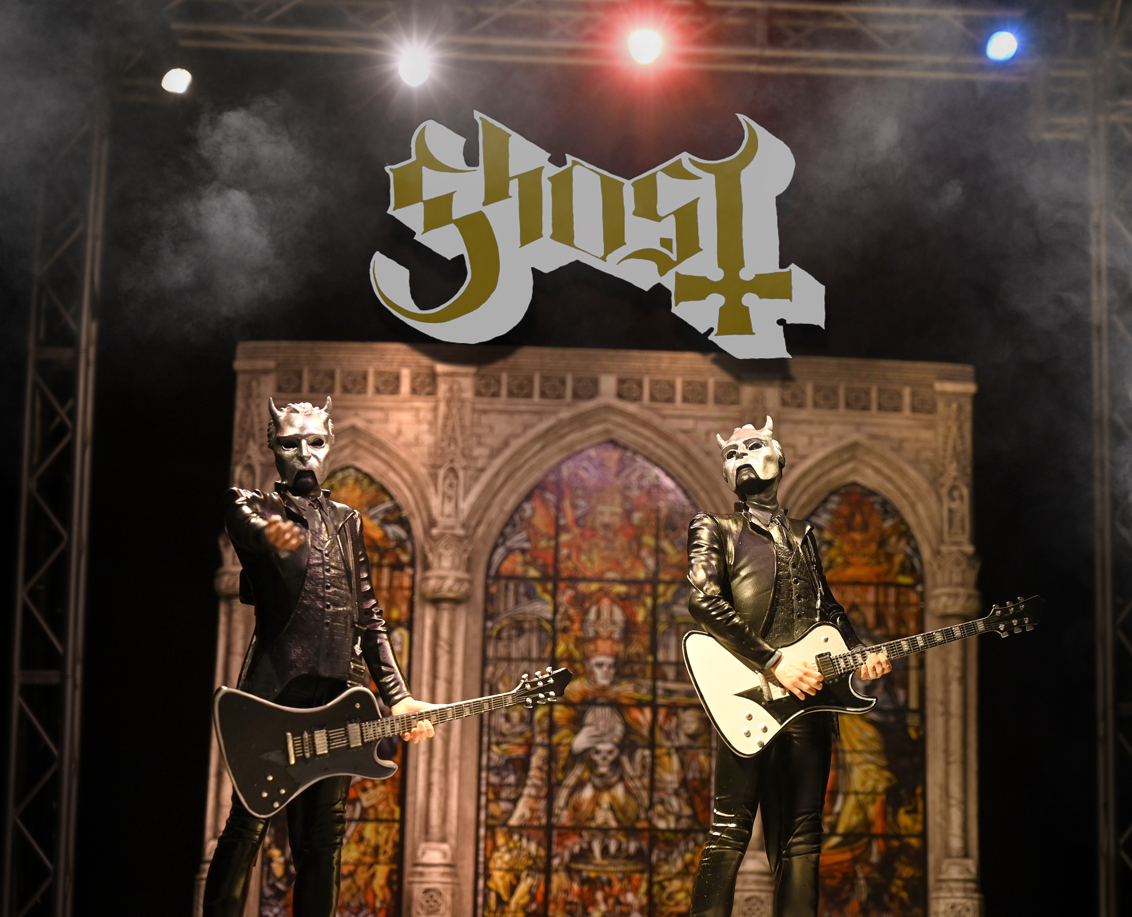 Ghost Papa Nihil, Ghost Ghoul Guitar White, Ghost Ghoul Guitar Black Rock Iconz and A Pale Tour Named Death Stage Set for our On Tour™ Series.